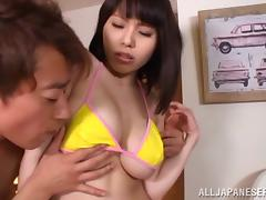Busty and booty Rion Nishikawa is enjoying a big dagger