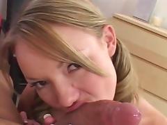 Bedroom, Bedroom, Blonde, Blowjob, Cum, Cum in Mouth