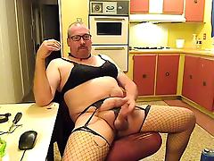 CrossDresser masturbates & cums wearing white lingerie