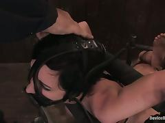 Cherry Torn gets her ass whipped while being in irons