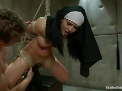 BDSM style double penetration for a kinky nun