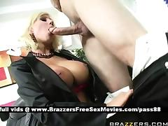 Gorgeous blonde slut at work gets a blowjob