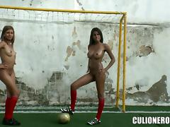 Two amazing and sexy soccer chicks are sucking a huge one