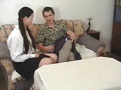 Spanking the Butt Cheeks of Brunette in Pigtails with a Paddle porn video