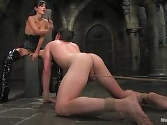 Shy Love dominates a guy and fucks him in a basement