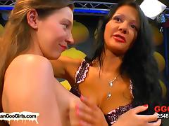 Bukkake group sex with brunette chicks
