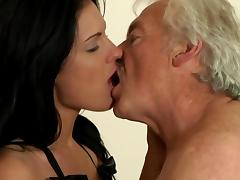 Old and Young, Blowjob, Brunette, Couple, Cute, Grandpa