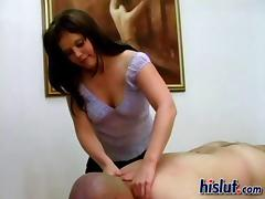 Melanie demands a cock in her hand instantly