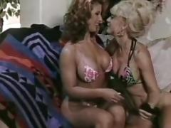 Sexy flexible milfs are licking shaved pussies in retro scene