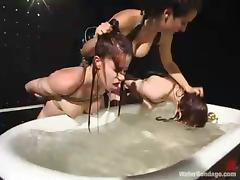 Two redhead bitches in stockings get punished in BDSM video