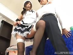 Hot Japanese Maid Hibiki Fucking Doggystyle In The Mans House porn video