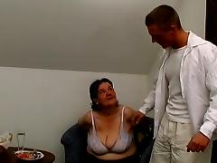 Fat granny Tanya gets her cunt fucked and toyed by a young stud