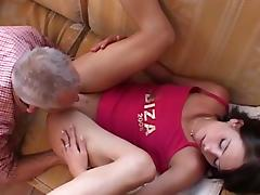 Old and Young, Blowjob, Brunette, Facial, Small Tits, Sofa