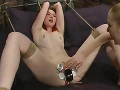Blonde Dominatrix Having Fun Playing with Redhead's Pussy and Toys porn video