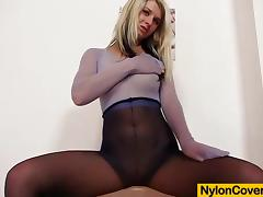 Blonde with nylon mask on her face porn video