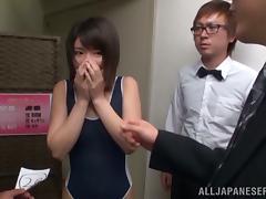 Shor Haired Japanese Babe Koharu Aoi Sucking Plus Fucking Two Guys