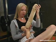 Cheerleader, Cheerleader, Fingering, Machine, Shaved Pussy