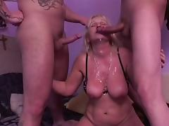 Blonde Granny Realize Fucked overwrought 2 Guys porn video