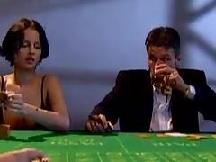 Unsightly babes in stockings succeed in rammed on a poker table