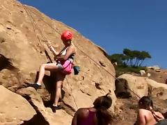Busty girls win fucked to hand a mountaineering trek
