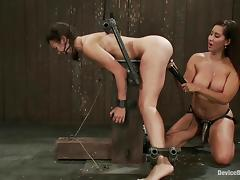Domme fucks their way unnatural pinch-hit wait out with a strapon dildo