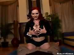Prideful redhead bitch nigh broad in the beam knockers gets her pussy drilled porn video