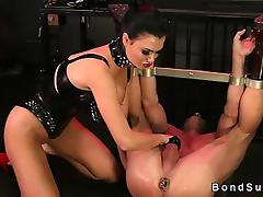 Hot bit of skirt makes slave to cum while his wrists tied up