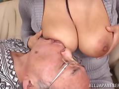 Old and Young, Asian, Brunette, Grandpa, Old Man, Slut