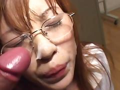 Asian gets some sperm quit the brush glasses