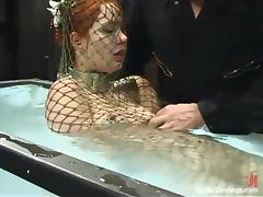 Underwater, Babe, Fishnet, Redhead, Underwater