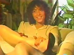 Retro videotape with amateur night fingering her vagina