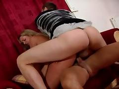 Sexy blonde babe with juciy ass gets double cocks