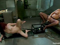 Mellanie Monroe and Jessi Palmer in Hot Lesbian Femdom with Machines