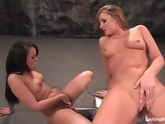 Annie Cruz and Flower Tucci test their fucking machines