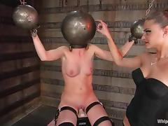 Brunette hottie gets tortured and pulled by the nipples in BDSM clip porn video