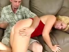 Horny milf has her big booty spanked