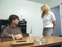 Horny blonde teen takes a ride on the principal's hard cock +