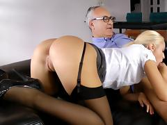 Old and Young, Blonde, Blowjob, Couple, Old Man, Riding