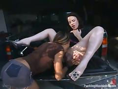 Jenni Lee and Lorelei use machines and toys while making lesbian love