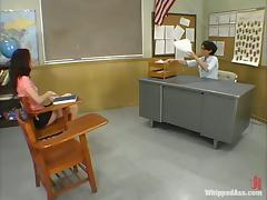 Slim girl gets spanked and toyed by her teacher