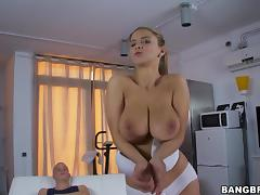 Undressing, Babe, Big Tits, Blonde, Boobs, Lucky
