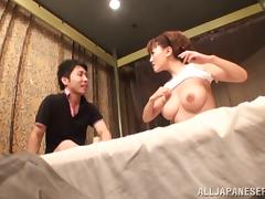 Busty Japanese sex doll is riding that huge cock