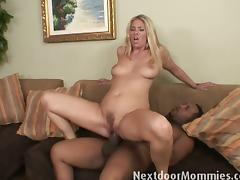 Sweet blonde milf enjoys a big rod of black meat