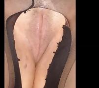 my ex-wife - shaved pussy in pantyhose, tits.