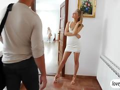 Babes shares lucky cock and sticky cum