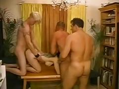Horny mature lady is naked with three bisexuals