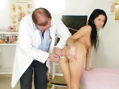 Shaved Pussy, Brunette, Doctor, Gyno, Hospital, Small Tits