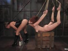 Tied up Sabrina Fox gets toyed with a strap-on and an electric dildo