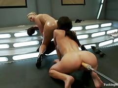 Lesbians Amy Brooke and Phoenix Marie Sharing Toys and Machines porn video
