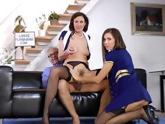 Stewardess, Beauty, Blowjob, Brunette, Ffm, Latex